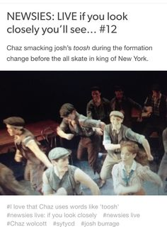 NEWSIES: LIVE  if you look closely you'll see #12 Credits: nobody-told-the-Horse //tumblr