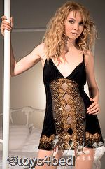 Your Online Adult Shop - Cheap Adult Toys Brisbane - Toys4Bed :: Lingerie :: Chemises :: Black and Gold Chemise $47.50