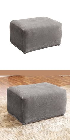 Surefit Sure Fit Sf45540 Stretch Pique Oversized Ottoman Slipcover Flannel Gray Ottoman Slipcover Oversized Ottoman Ottoman