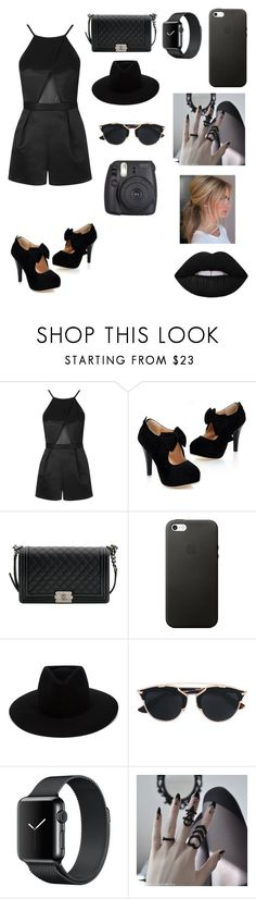 """""""Black romper"""" by fairylights112233 on Polyvore featuring Topshop, Chanel, rag & bone, Christian Dior and Lime Crime"""