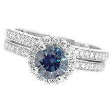 Blue Diamond Halo Engagement & Wedding Ring Set