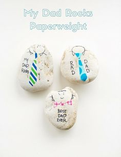 Make dad these cute and easy rock paperweights for Father's Day to show dad he rocks!