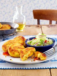 Couscous-Möhren-Frikadellen mit asiatischem Gurkensalat