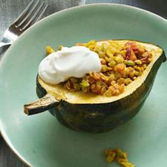 Curried Lentil Stuffed Squash Recipe  this looks and sounds so good-it seems a little daunting with so many ingredients