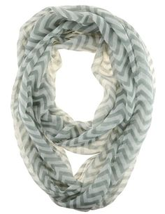 Cotton Cantina Soft Chevron Sheer Infinity Scarf (Gray/White) Cotton Cantina