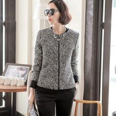 Buy 'JOAMOM – Collarless Tweed Zip-Up Jacket' at YesStyle.com plus more South Korea items and get Free International Shipping on qualifying orders.