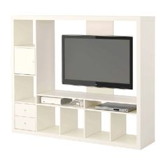 Expedit Entertainment Center with Wicker Baskets in bottom cubbies
