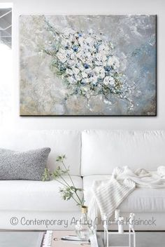"""""""Once in a Lifetime"""" Original Art Large Abstract Painting White Flowers Textured Floral Bouquet Painting. Stunning, soft, modern, flowers, peonies, roses, juxtaposed against an earthy textured background. Created by brush & palette knife, this coastal, fine art, painting is stunning in shades of grey, taupe, beige, blue, light blue, green. Mixed media acrylic painting on 30x40x1.5"""" canvas. Gift, Wedding Gift, Wall Art, Home Decor, Gallery Artwork. ~By Contemporary Artist, Christine Krainock"""