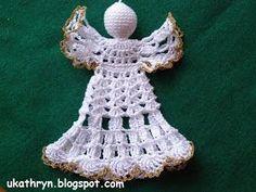 U Kathryn : Szydełkowy anioł (wzór)/Crochet angel pattern Crochet Angel Pattern, Crochet Bikini Pattern, Crochet Angels, Crochet Stars, Crochet Snowflakes, Thread Crochet, Crochet Crafts, Crochet Doilies, Crochet Projects