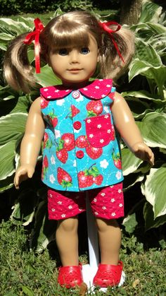 American Girl doll clothes  Strawberry Shorts Top by susiestitchit, $18.00