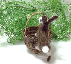 This Needle Felted Bunny Is Ready For Spring and by WildWoodHollow, $39.00