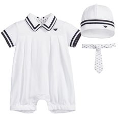 0558f706fcd Petit New York · Holiday Outfits · Armani Baby White Romper Gift Set White  Romper