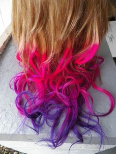 Hot Pink Ombre hair | Hot pink and purple dip dyed ombre hair