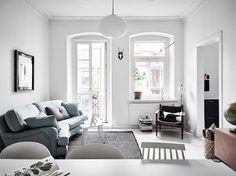a swedish apartment in cool, calm, icy tones // copper & aqua tones