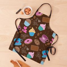 Apron Designs, Black Ties, I Love Coffee, Coffee Lovers, Long Black, Coffee Cups, Print Design, Sweet Treats, Bbq