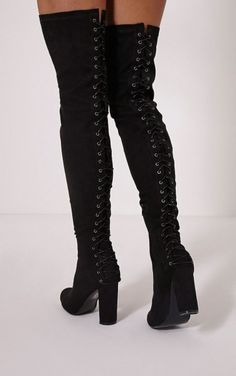 8b8022431 Black Lace Up Over The Knee Boots Fashion Outfits, Womens Fashion,  Fashionable Outfits,