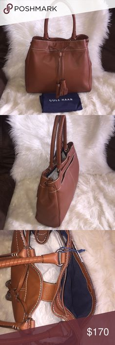 """💞👜Cole Haan loveth drawstring tote bag👜💞 Send me best offer. Brand new. Guarantee 100% authentic. High quality all 100% genuine leather. The very gorgeous fully function tote. Great for your daily buddy. Light weight. Perfect size. Dual leather handle, approx. 8"""" drop length. Drawstring with magnetic top closure. Interior one zip pocket and 2 slide pockets. Exterior has one full slide magnetic closure pocket. Dust bag included. Care card included. Color: Woodbury; style# CHD11461. Check…"""