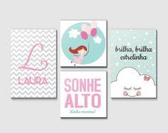 Kit Quadro Infantil - Sonhe Alto Menina