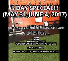 5 Day Special going on for our Strength and Metabolic Classes!!! Save up to $35 on any of our classes.  If your ready to get in the best shape of your life, our classes are perfect to help you achieve optimum health.  Space is limited!! Offer will expire on JUNE 4!!! For more information DM me or contact me at (831) 737-3091 #personaltraining #teamrebornfit #fitsoul #stayfocused #staystrong #joinourfitnessrebolution #salinas #montereyca #montereylocals - posted by Migue Gonzalez…
