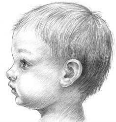 Как нарисовать лицо, голову ребенка карандашом поэтапно. Пропорции лица ребенка, младенца.