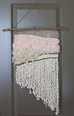 brown, pink, cream and navy pink asymmetrical / all organic materials / wall hanging weaving tapestry with tassels / textile art Weaving Textiles, Weaving Art, Tapestry Weaving, Loom Weaving, Hand Weaving, Weaving Wall Hanging, Wall Hangings, Weaving Projects, Fabric Manipulation