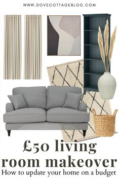 How to update your living room on a tight budget - featuring a boho inspired mood board of neutrals and pampas grass. Ideas for making over your lounge, from replacing flooring to repainting, and updating your furniture. Budget interior inspiration #budgethomedecor #livingroomdecor #livingroomideas #moodboard Living Room Update, Living Room On A Budget, Boho Living Room, Living Rooms, Living Room Decor, Cosy Lounge, Lounge Decor, Herringbone Laminate Flooring, Beige Room