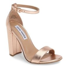 Women's Steve Madden Carrson Sandal ($90) ❤ liked on Polyvore featuring shoes, sandals, rosegold, chunky heel sandals, steve madden footwear, ankle tie sandals, thick heel shoes and chunky heel shoes