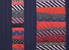 This is a tie quilt. Yes a quilt made of men's ties. Can you say awesome? Strip Quilts, Quilt Blocks, Transformers, Necktie Quilt, Tie Pillows, Old Ties, Tie Crafts, Man Quilt, Sewing Class