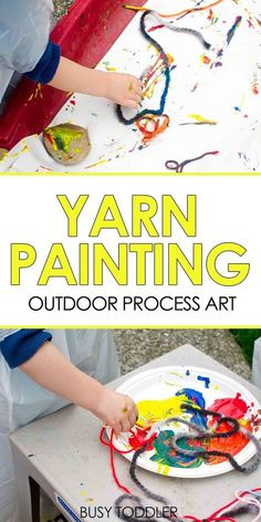 Yarn Painting: Outdoor Process Art - a fun toddler art project; easy summer art activity for toddlers and preschoolers art Yarn Painting: Outdoor Process Art Summer Art Activities, Art Activities For Toddlers, Preschool Art Projects, Toddler Art Projects, Process Art Preschool, Toddler Painting Ideas, Colour Activities, Preschool Class, Vocabulary Activities