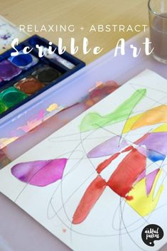 Combine scribble drawings with watercolors for a relaxing art activity that has beautiful results. A great process art activity for kids and adults alike! #kidsart #kidspainting #kidsactivities #artforkids #paintingtechniques #watercolorpainting