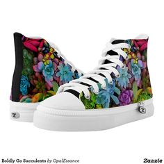 Shop Boldly Go Succulents High-Top Sneakers created by OpalEssance. Colorful Sneakers, High Top Sneakers, Top Shoes, Men's Shoes, Comfortable Mens Shoes, Shoe Art, Custom Sneakers, High Tops, Converse