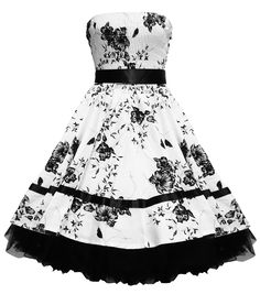 H&R London Strapless Floral Dress In White & Black | Tiger Milly
