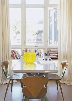 Natural light warms up this dining space.   http://domino.com