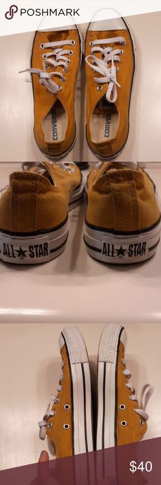 GUC Mustard Yellow Size 8 Women Converse Good Used Condition Mustard Yellow Converse Size 6 Mens 8 Womens Will throw them in wash before sending them out Converse Shoes Sneakers Yellow Converse, Converse Shoes, Shoes Sneakers, Size 8 Women, Mustard Yellow, Fashion Design, Fashion Tips, Fashion Trends, Converse Chuck Taylor