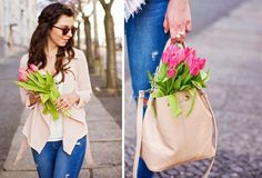 Bucket Bag, Spring, Tulips