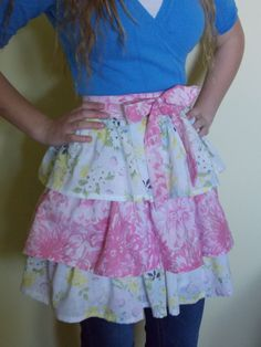 Hand Sewn Half Apron With Contrasting Tiers Made by content2Bsew