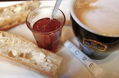 Parisian café breakfast: Melty butter, crunchy baguettes and foamy coffees in the morning. Heaven!