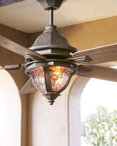 Exterior fan with walnut blades; Waterglass fixture