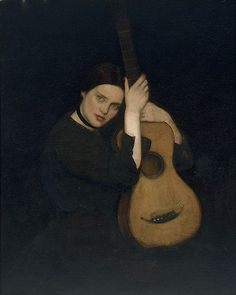 La guitariste (1902) George W Lambert (Russia, Australia 1873–1930)