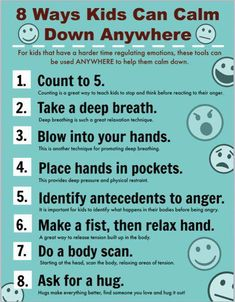 Printable Poster for Helping Children Calm Down - Centro de Salud Bucal Coping Skills, Social Skills, Teaching Kids, Kids Learning, Angry Child, Anxiety In Children, Young Children, Deal With Anxiety, How To Calm Anxiety