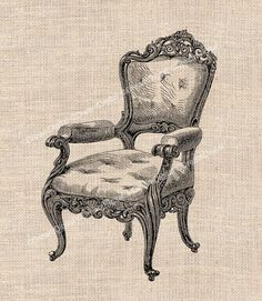 Vintage Chair Printable Image for Transfer to Fabric Pillows Burlap Decoupage Altered Art Shabby Chic Download No.216. $4.80, via Etsy.
