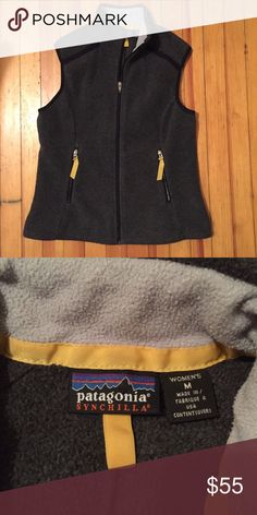 Patagonia Grey and Yellow Vest Patagonia gray best with yellow accent. Size M, EUC! Patagonia Jackets & Coats Vests