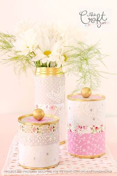 DIY Crafts | Pretty Storage Containers made from Repurposed Tin Cans