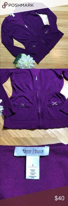 """WHBM Small Zip Front Purple Cardigan Sweater White House Black Market Small beautiful deep purple zip up cardigan sweater with silver details. 25"""" from shoulder to hem and 17.5 across chest. In excellent condition from non-smoking home. White House Black Market Sweaters Cardigans"""