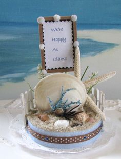 Starfish Clam Seashell Beach Wedding Cake Topper~by CeShoreTreasures, $45.00