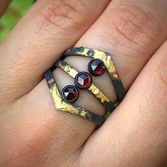 Garnet Crown Ring Unique Rings, Gold Accents, Garnet, Silver Rings, Wedding Rings, Crown, Engagement Rings, Sterling Silver, Black