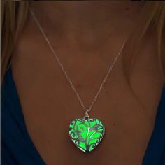 New Glow In The Dark Locket Silver Hollow Glowing Stone Pendant Statement Chocker Pendants Necklace For Women P1170   #StickersGalaxy