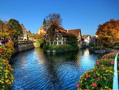 "Beautiful part of the centre of Esslingen in Southern Germany. This part is often called ""Little Venice"" because of the many canals passing through it."