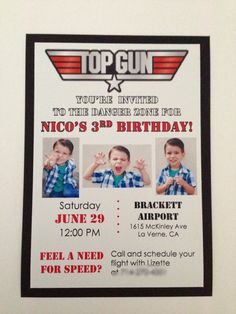Top Gun Aviator Invitations by JJsPersonalTouch on Etsy 2nd Birthday Party For Boys, Baby First Birthday, Dad Birthday, Birthday Ideas, Top Gun Party, Airplane Party, Party Time, First Birthdays, Invitations