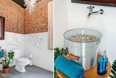 Esses banheiros são indicados para quem tem pouco espaço e quer investir em uma decoração atemporal